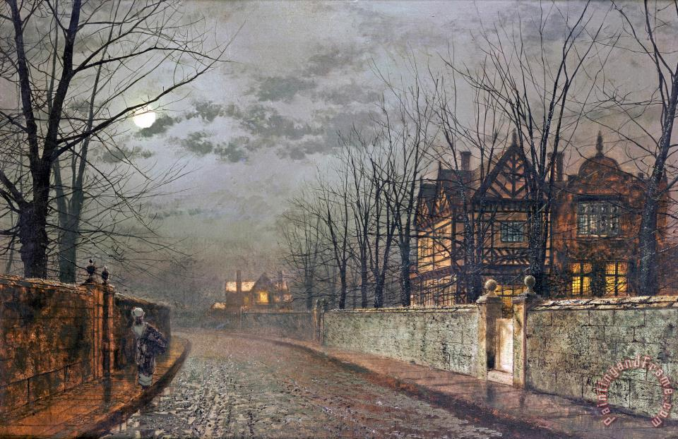 John Atkinson Grimshaw Old English House Moonlight After Rain Painting Old English House