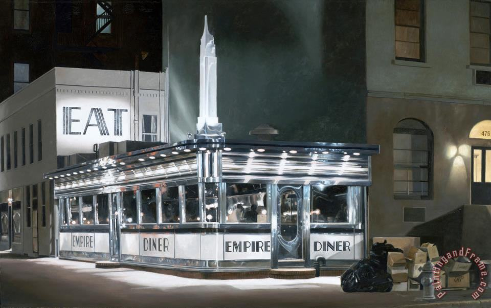 John baeder empire diner painting empire diner print for for Diner painting