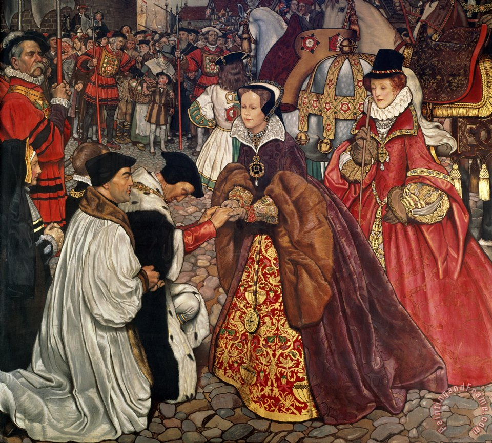 Queen Mary and Princess Elizabeth entering London painting - John Byam Liston Shaw Queen Mary and Princess Elizabeth entering London Art Print
