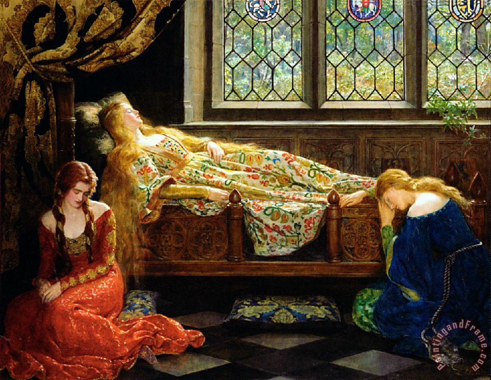 John Collier The Sleeping Beauty Art Painting
