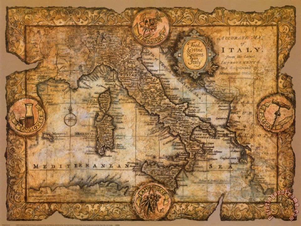 John Douglas Map of Italy painting  Map of Italy print for sale