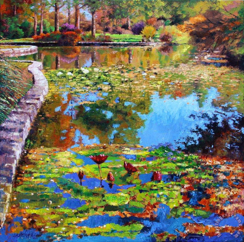 John Lautermilch Fall Leaves on Lily Pond Art Print