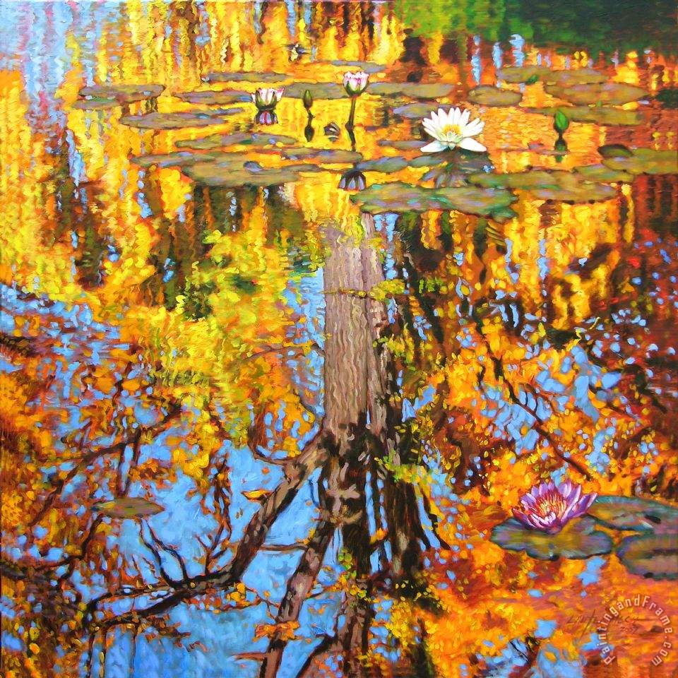 John Lautermilch Golden Reflections on Lily Pond Art Print