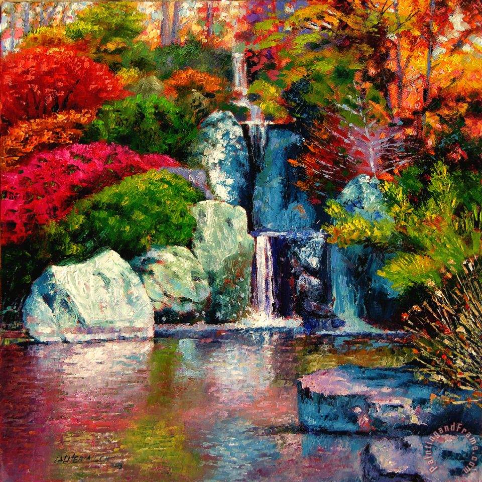 John Lautermilch Japanese Waterfall Art Painting