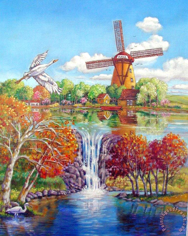John Lautermilch Old Dutch Windmill Art Print