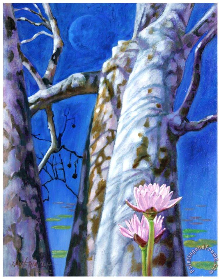 Water Lilies and Sycamores painting - John Lautermilch Water Lilies and Sycamores Art Print