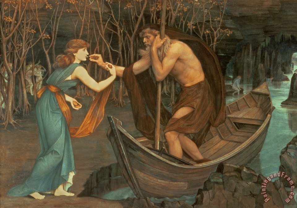 John Roddam Spencer Stanhope Charon and Psyche Art Print