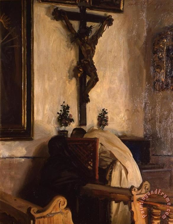 The Confession 1914 painting - John Singer Sargent The Confession 1914 Art Print