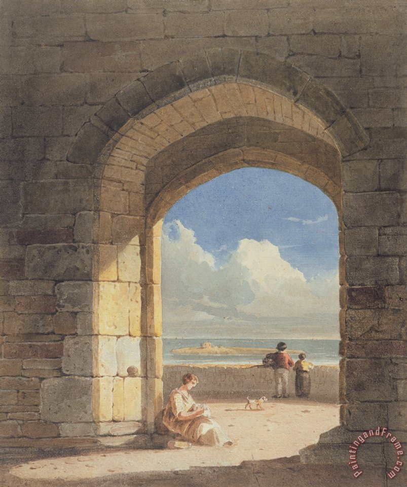 An Arch at Holy Island - Northumberland painting - John Varley An Arch at Holy Island - Northumberland Art Print