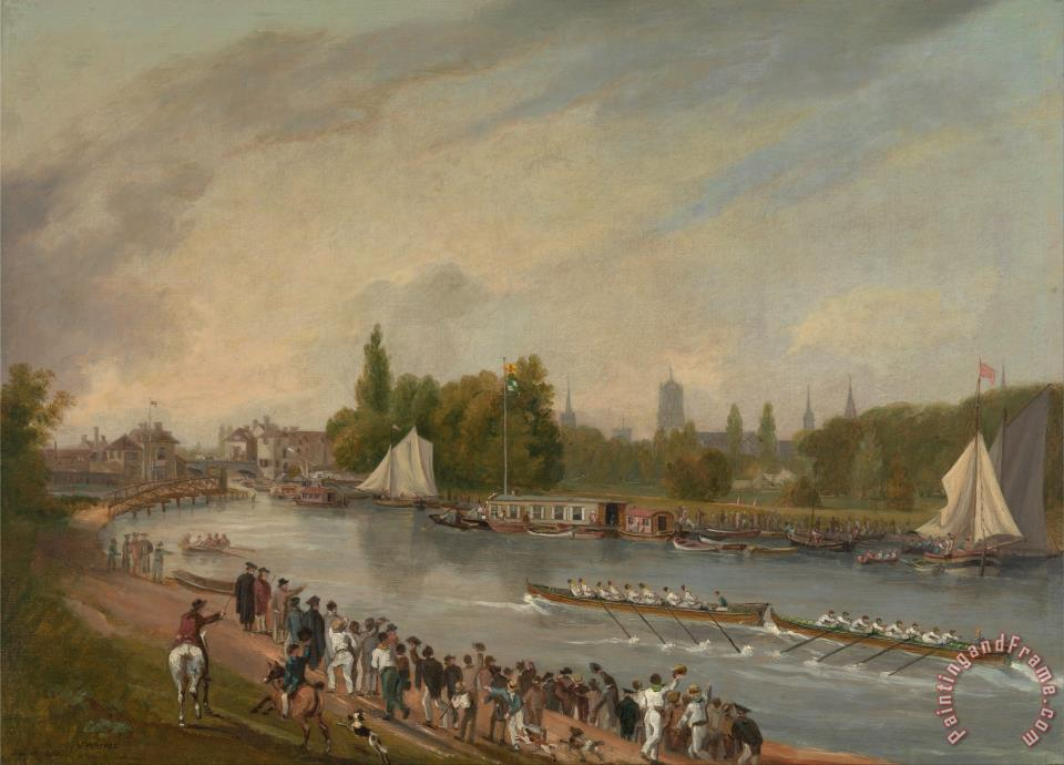 A Boat Race on The River Isis, Oxford painting - John Whessell A Boat Race on The River Isis, Oxford Art Print
