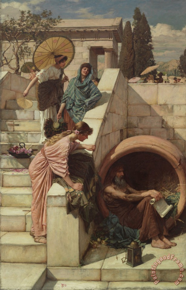 Diogenes painting - John William Waterhouse Diogenes Art Print