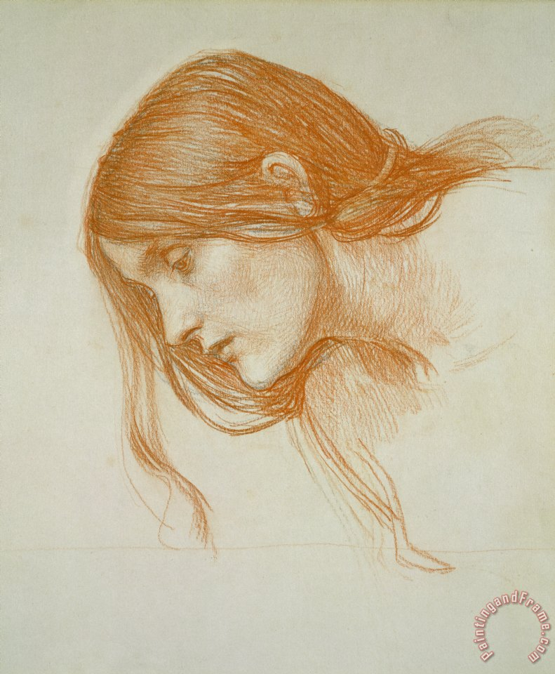 Study of a Girls Head painting - John William Waterhouse Study of a Girls Head Art Print