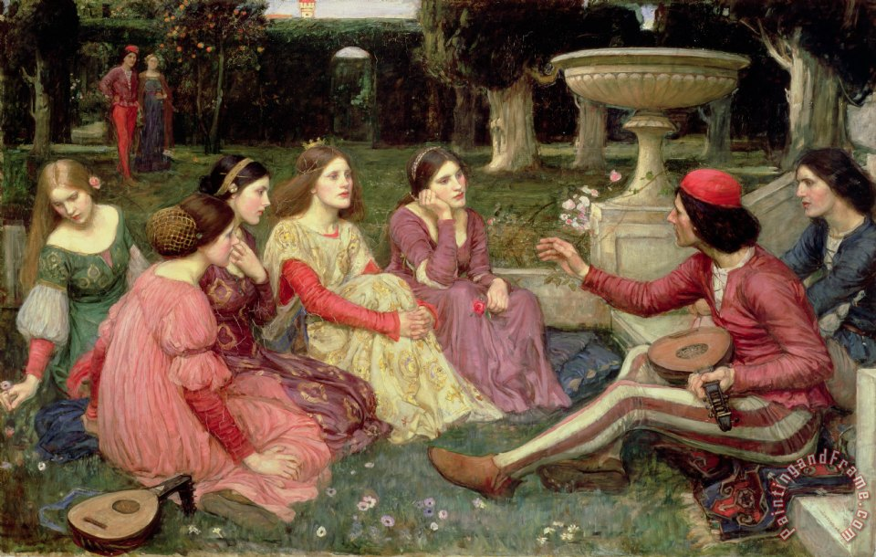 John William Waterhouse The Decameron Art Print