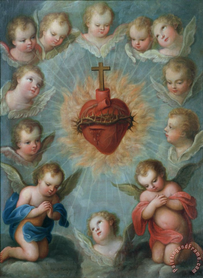 Sacred Heart of Jesus surrounded by angels painting - Jose de Paez Sacred Heart of Jesus surrounded by angels Art Print