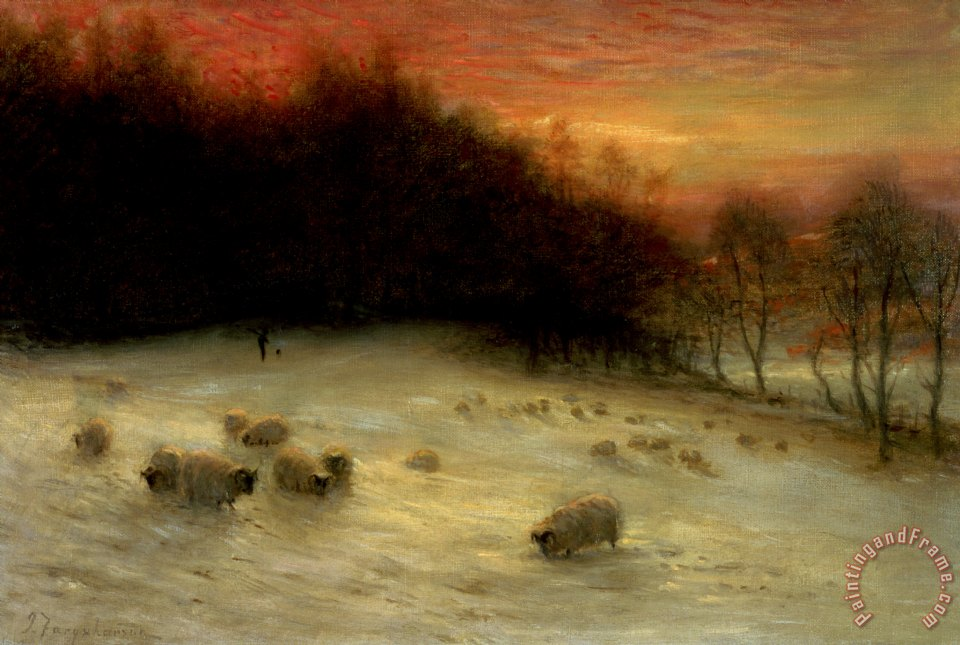 Sheep in a Winter Landscape Evening painting - Joseph Farquharson Sheep in a Winter Landscape Evening Art Print