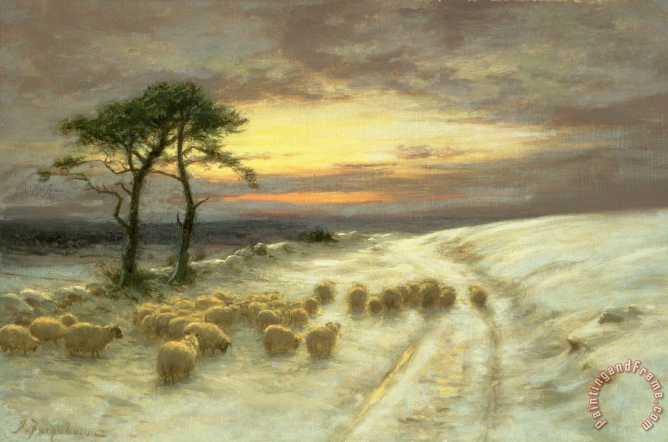 Sheep in the Snow painting - Joseph Farquharson Sheep in the Snow Art Print