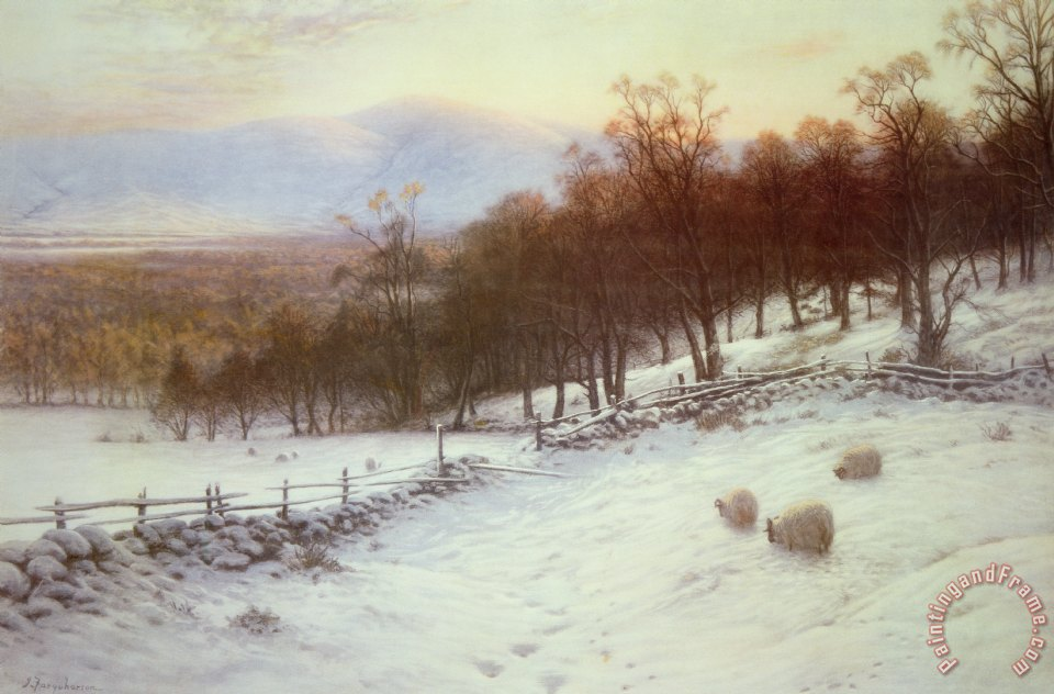 Snow Covered Fields with Sheep painting - Joseph Farquharson Snow Covered Fields with Sheep Art Print