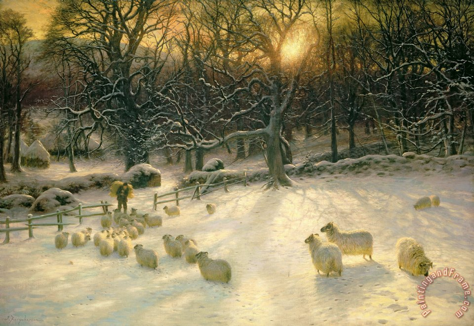The Shortening Winters Day is Near a Close painting - Joseph Farquharson The Shortening Winters Day is Near a Close Art Print