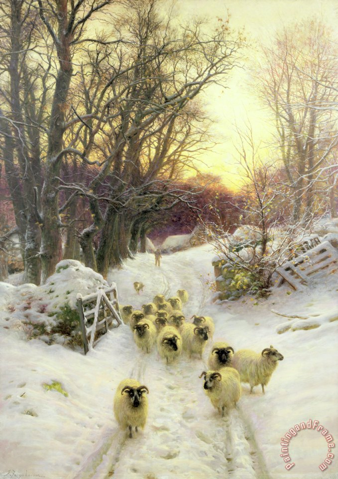The Sun Had Closed the Winter's Day painting - Joseph Farquharson The Sun Had Closed the Winter's Day Art Print