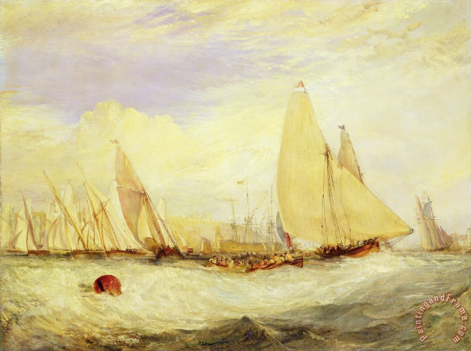 East Cowes Castle the Seat of J Nash Esq. the Regatta Beating to Windward painting - Joseph Mallord William Turner East Cowes Castle the Seat of J Nash Esq. the Regatta Beating to Windward Art Print