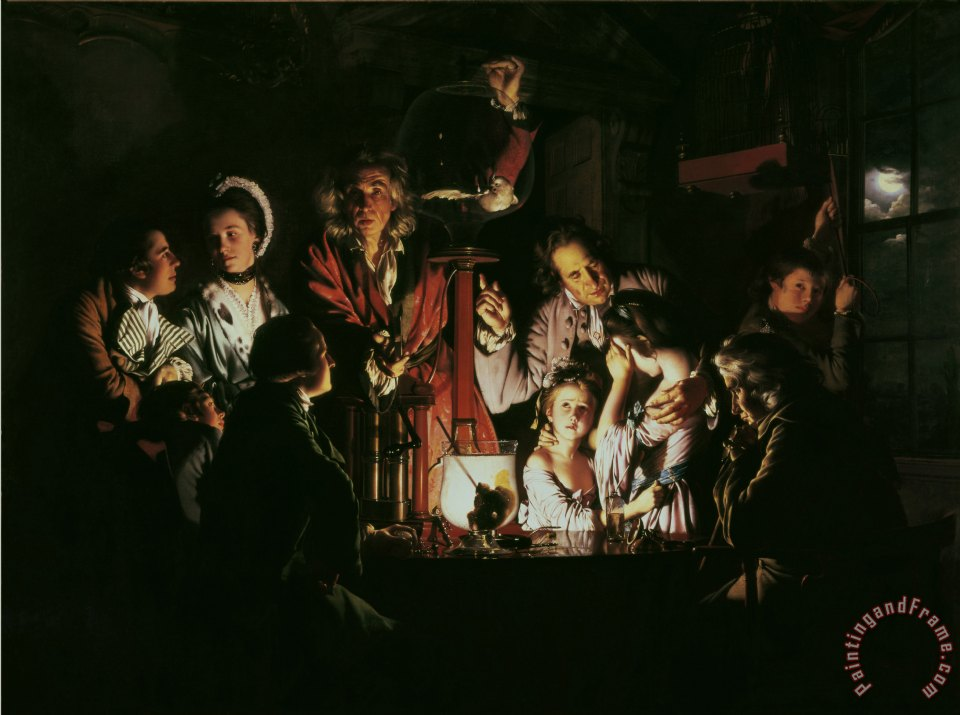 Joseph Wright of Derby An Experiment on a Bird in the Air Pump Art Painting