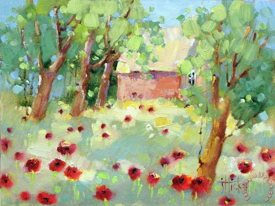 Hidden Cottage Poppies painting - Joyce Hicks Hidden Cottage Poppies Art Print