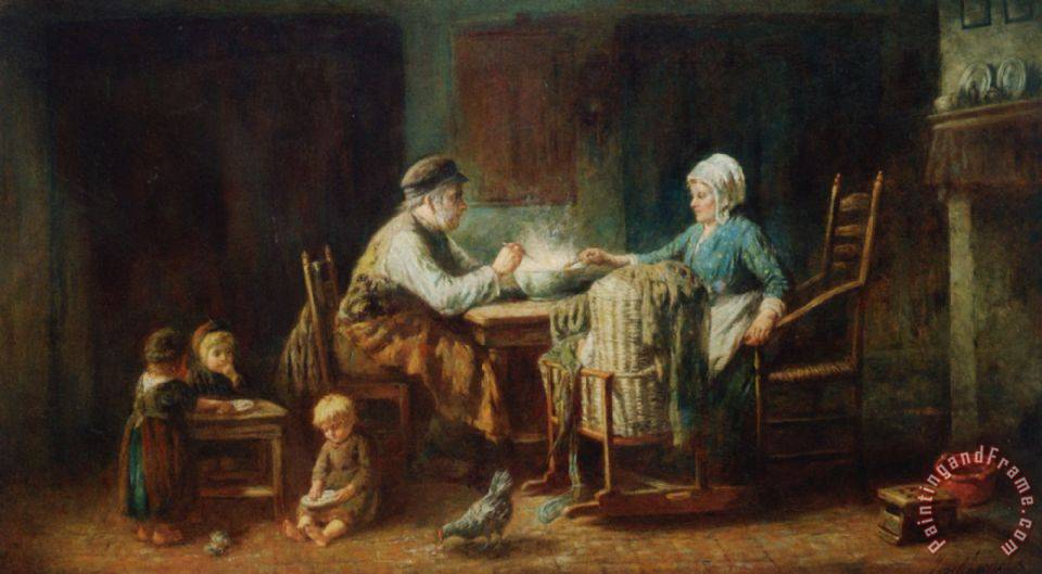 Jozef Israels A Frugal Meal Painting A Frugal Meal Print