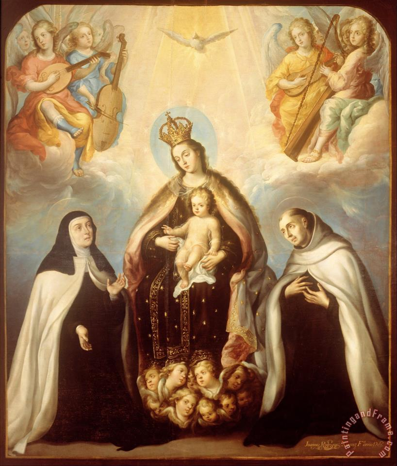 The Virgin of The Carmen with Saint Theresa And Saint John of The Cross painting - Juan Rodriguez Juarez The Virgin of The Carmen with Saint Theresa And Saint John of The Cross Art Print