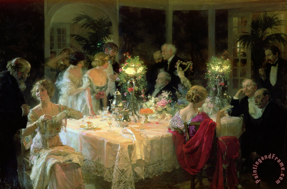 The End of Dinner painting - Jules Alexandre Grun The End of Dinner Art Print