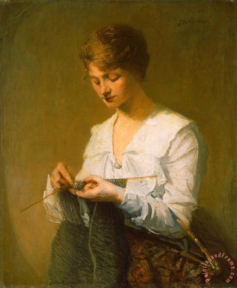julian alden weir knitting for soldiers painting