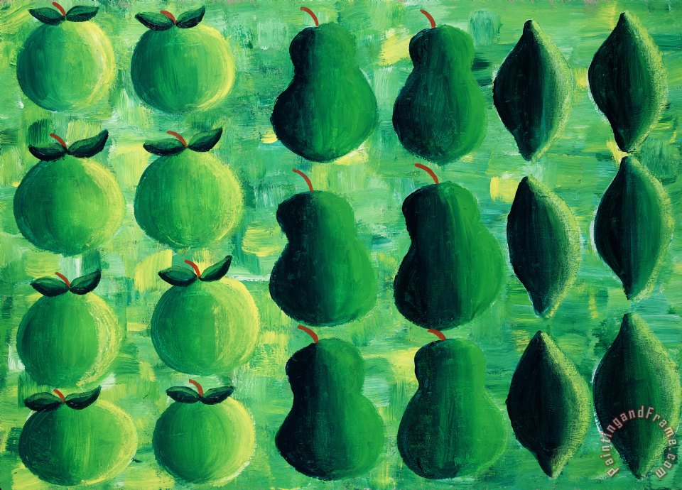 Apples Pears And Limes painting - Julie Nicholls Apples Pears And Limes Art Print