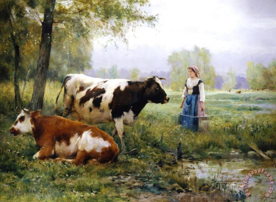 Julien Dupre The Milkmaid Painting The Milkmaid Print