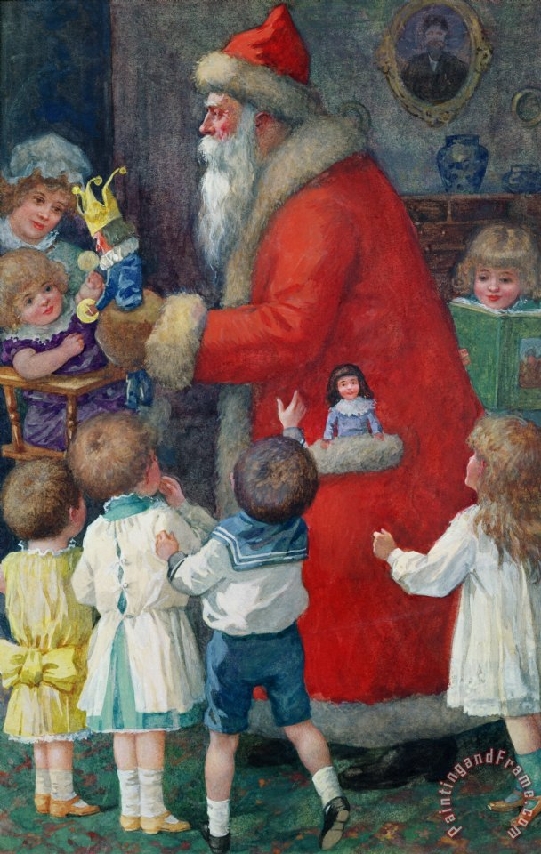 Karl Roger Father Christmas With Children Painting