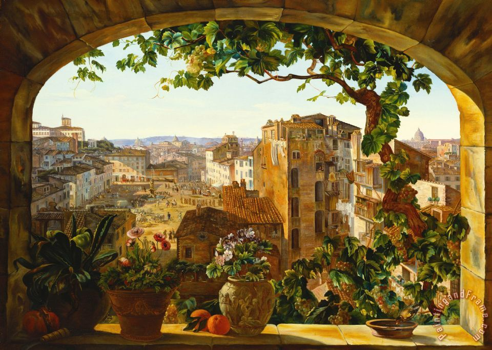 Piazza Barberini In Rome painting - Karl von Bergen Piazza Barberini In Rome Art Print