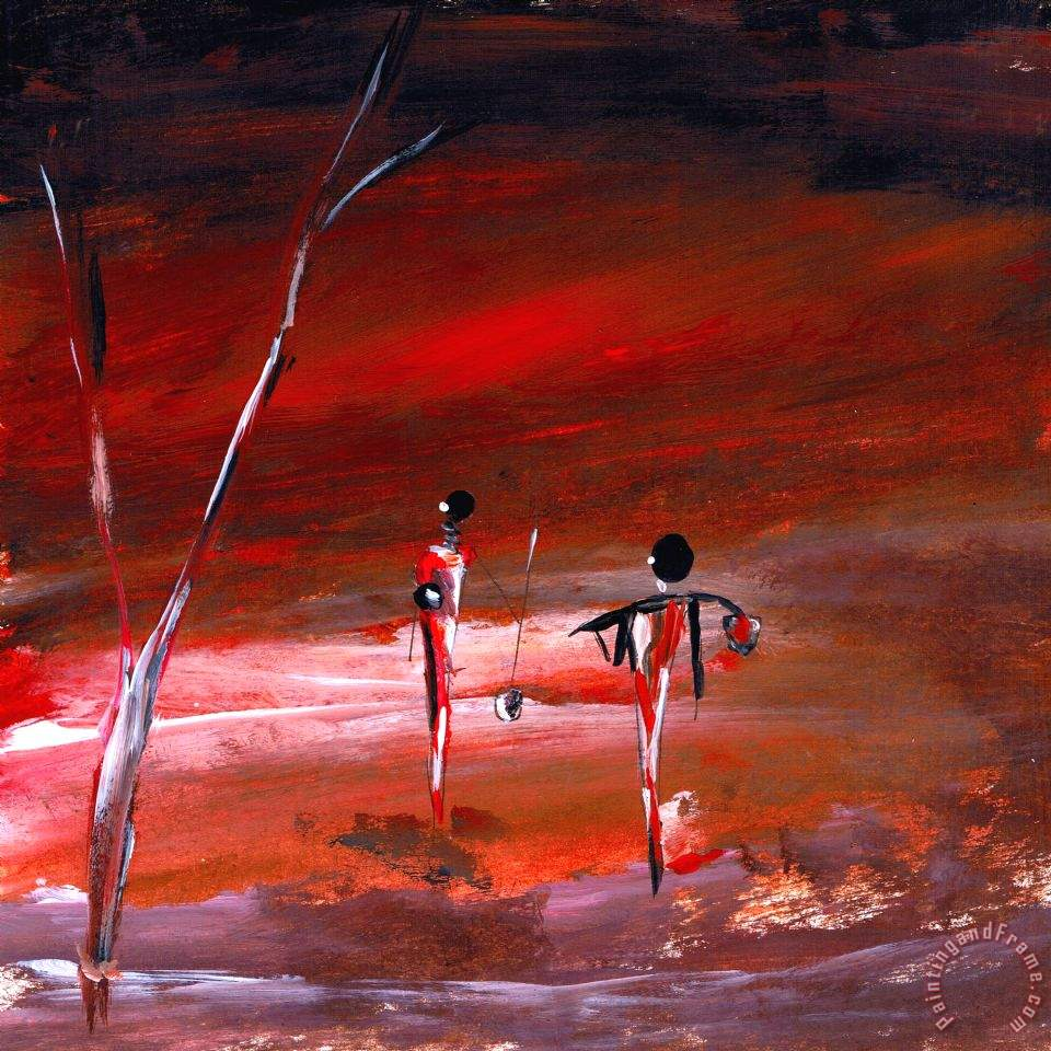 Everyday in Africa painting - Katarina Niksic Everyday in Africa Art Print