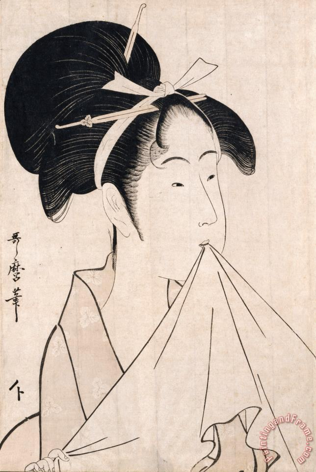 A Bust Portrait of Okita of The Naniwaya Holding a Hand Towel in Her Teeth And Stretching The Cloth painting - Kitagawa Utamaro A Bust Portrait of Okita of The Naniwaya Holding a Hand Towel in Her Teeth And Stretching The Cloth Art Print