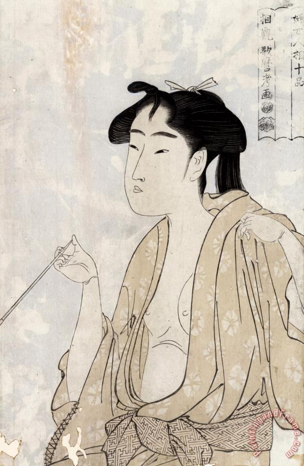 Woman Smoking a Pipe painting - Kitagawa Utamaro Woman Smoking a Pipe Art Print
