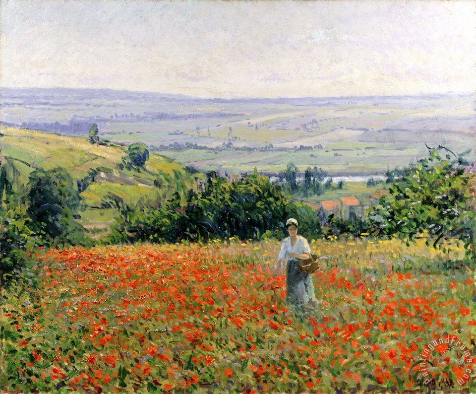 Leon Giran Max Woman in a Poppy Field Art Painting