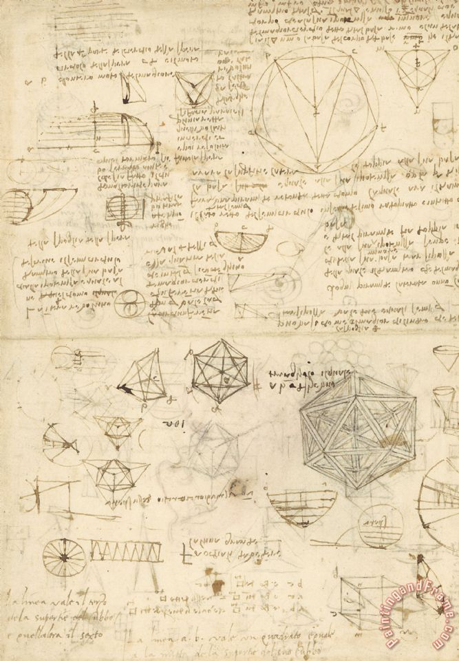 Leonardo da Vinci Cube Sphere Icosahedron Mention Of Known Project For Telescope Art Print