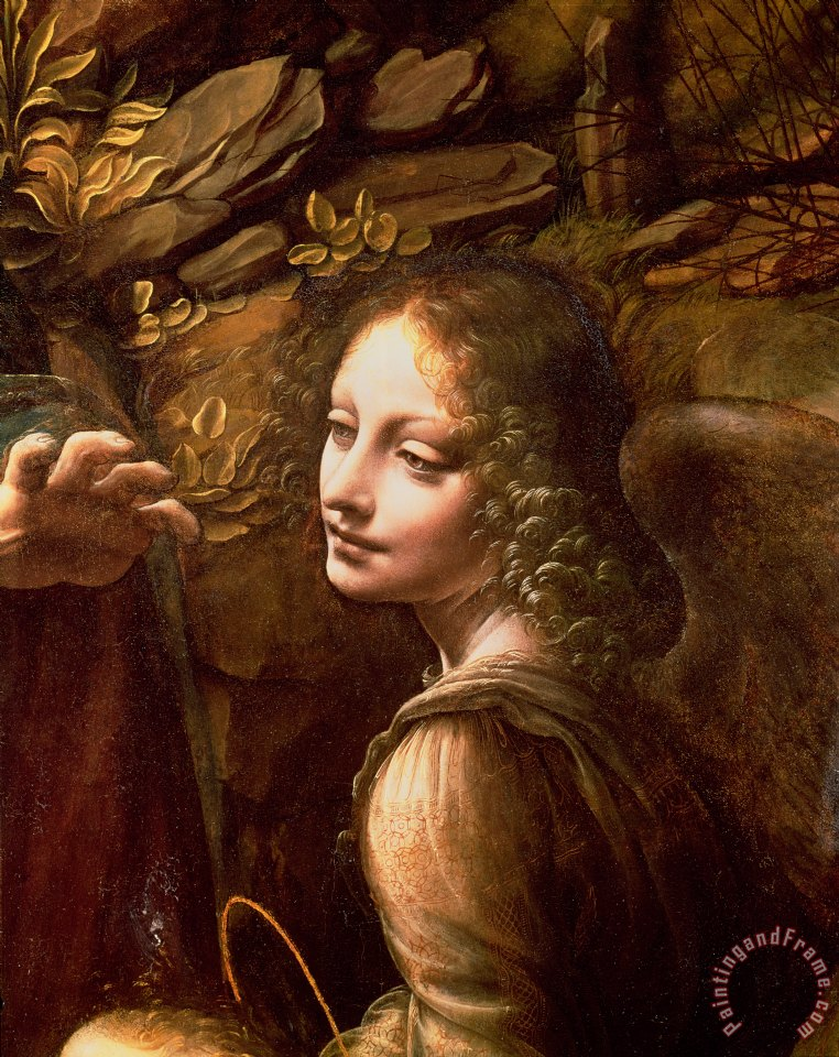 Detail of the Angel from The Virgin of the Rocks painting - Leonardo Da Vinci Detail of the Angel from The Virgin of the Rocks Art Print