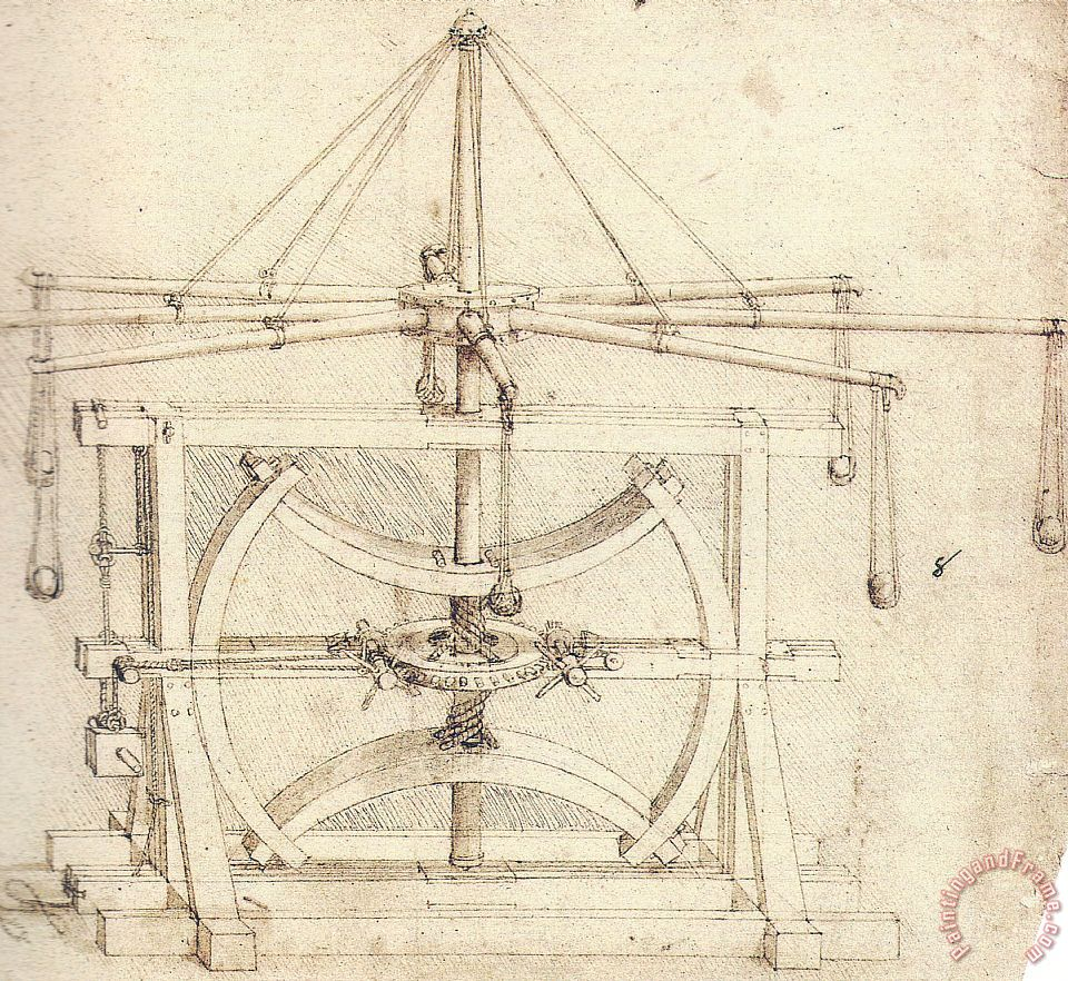 Flywheel Mechanical Drawing painting - Leonardo da Vinci Flywheel Mechanical Drawing Art Print