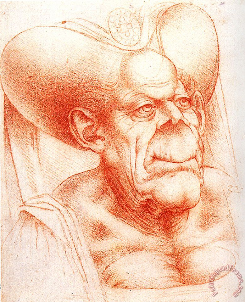 Leonardo da Vinci Grotesque Head Chalk Drawing Art Print