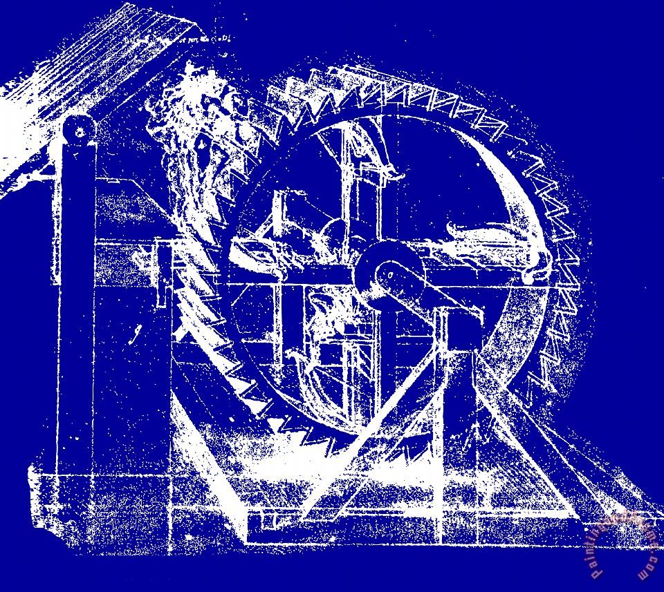 Leonardo Machine Blueprint painting - Leonardo da Vinci Leonardo Machine Blueprint Art Print
