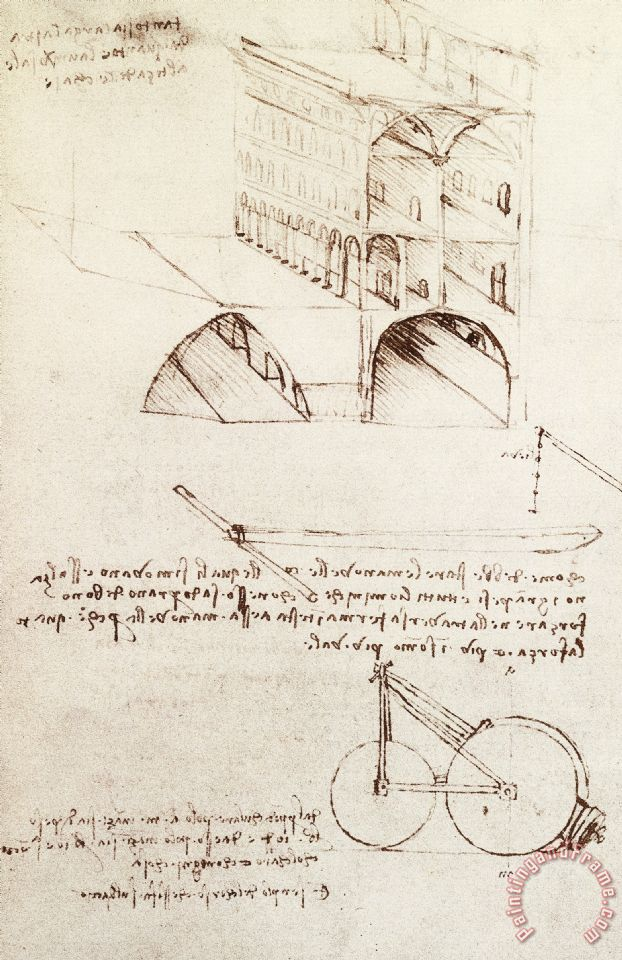 Manuscript B F 36 R Architectural Studies Development And Sections Of  Buildings In City With Raise Painting