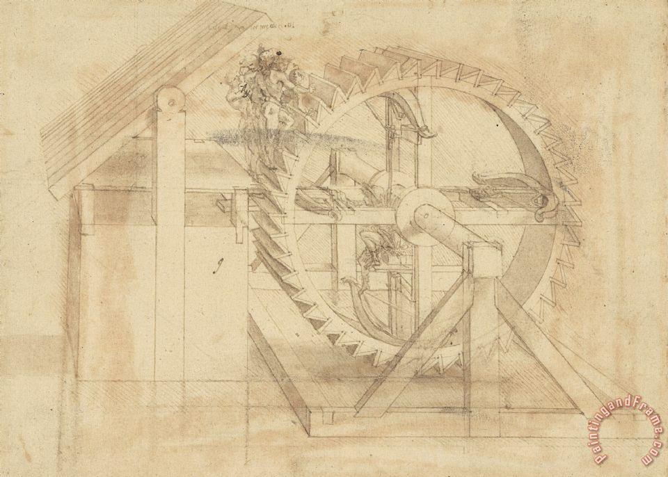 War Machine Composed Of Big Wheel With 44 Steps Set In Motion By Weight Of Ten Men And By Soldier painting - Leonardo da Vinci War Machine Composed Of Big Wheel With 44 Steps Set In Motion By Weight Of Ten Men And By Soldier Art Print