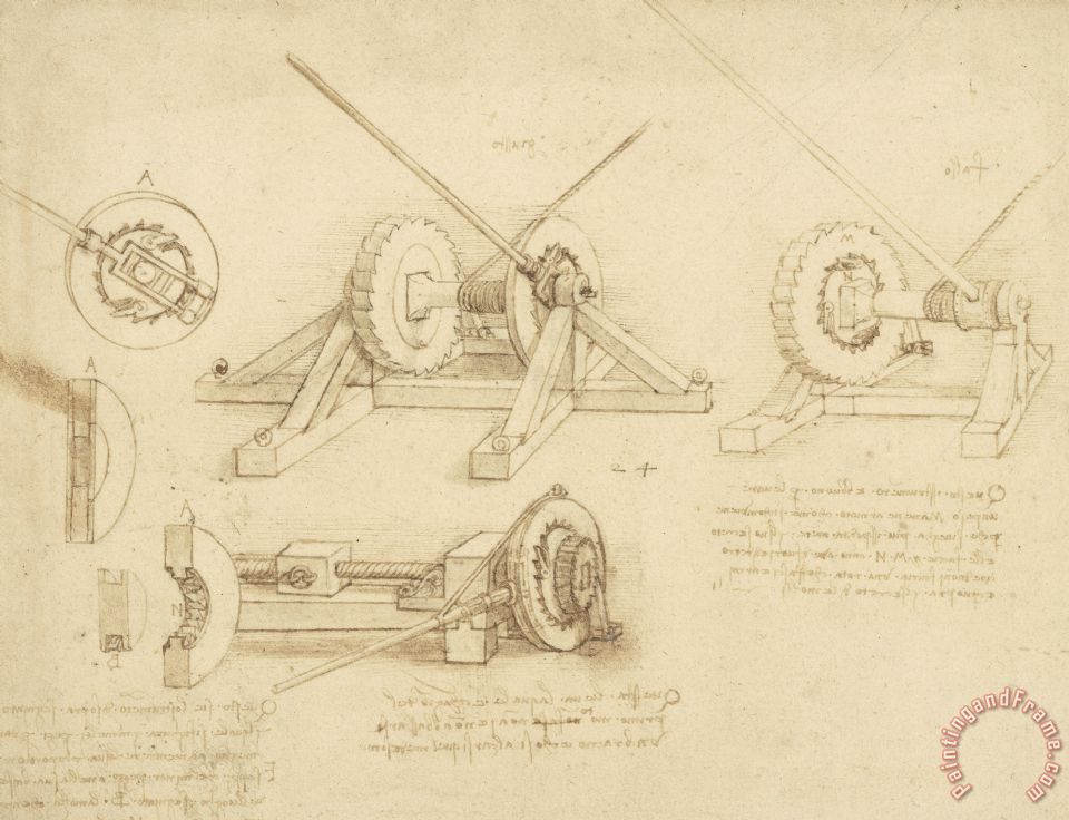 Leonardo da Vinci Winch Great Spring Catapult And Ladder From Atlantic Codex Art Print