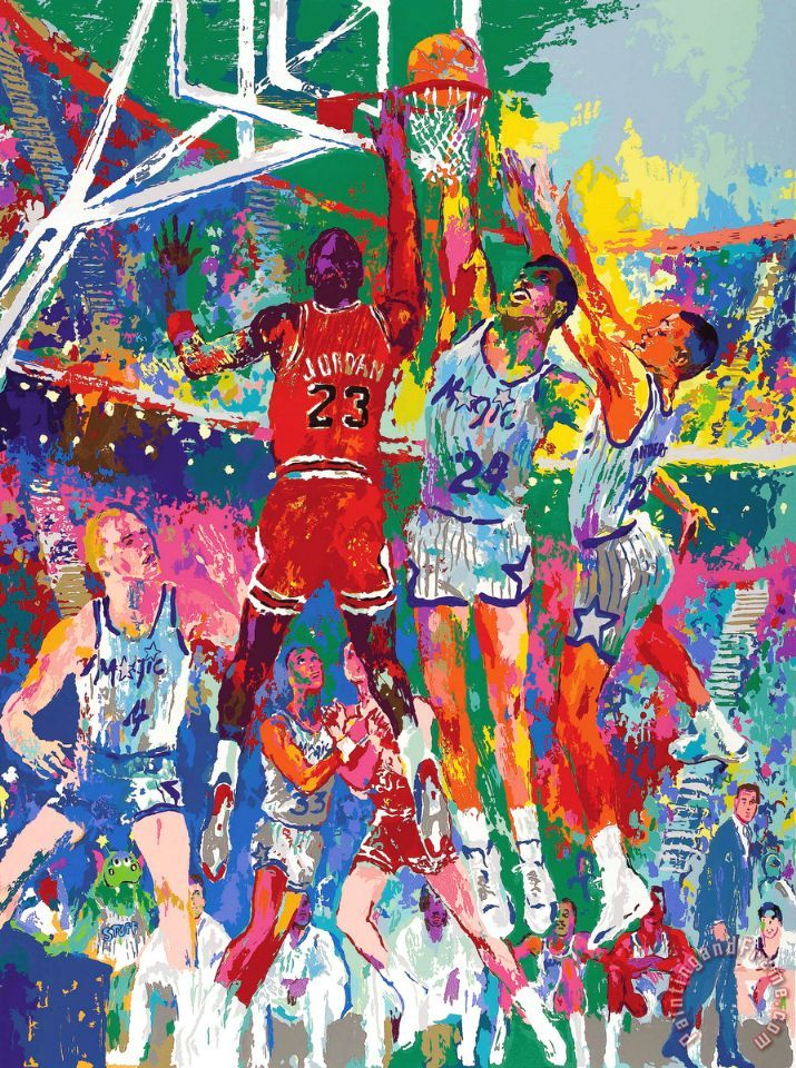 Basketball painting - Leroy Neiman Basketball Art Print