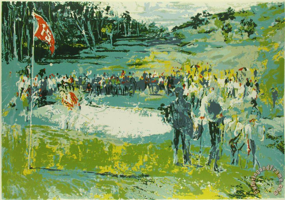 leroy neiman tournament golf painting tournament golf print for sale. Black Bedroom Furniture Sets. Home Design Ideas
