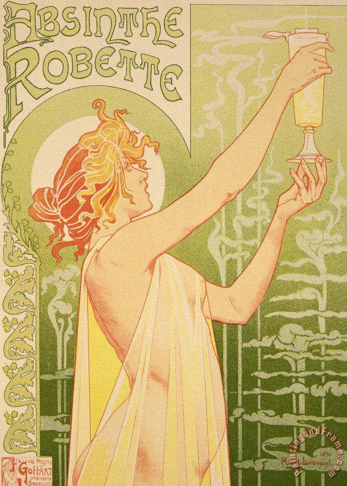 Reproduction Of A Poster Advertising 'robette Absinthe' painting - Livemont Reproduction Of A Poster Advertising 'robette Absinthe' Art Print