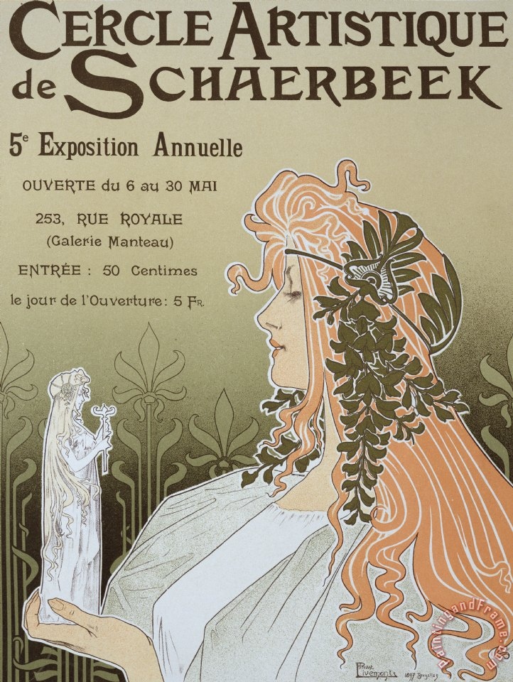 Livemont Reproduction Of A Poster Advertising 'schaerbeek's Artistic Circle Art Painting
